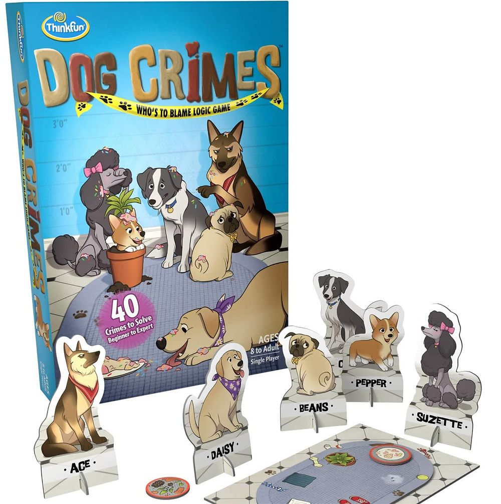 Thankful games Dog Crimes Who's to Blame  logic game with stand up dog flat figurines