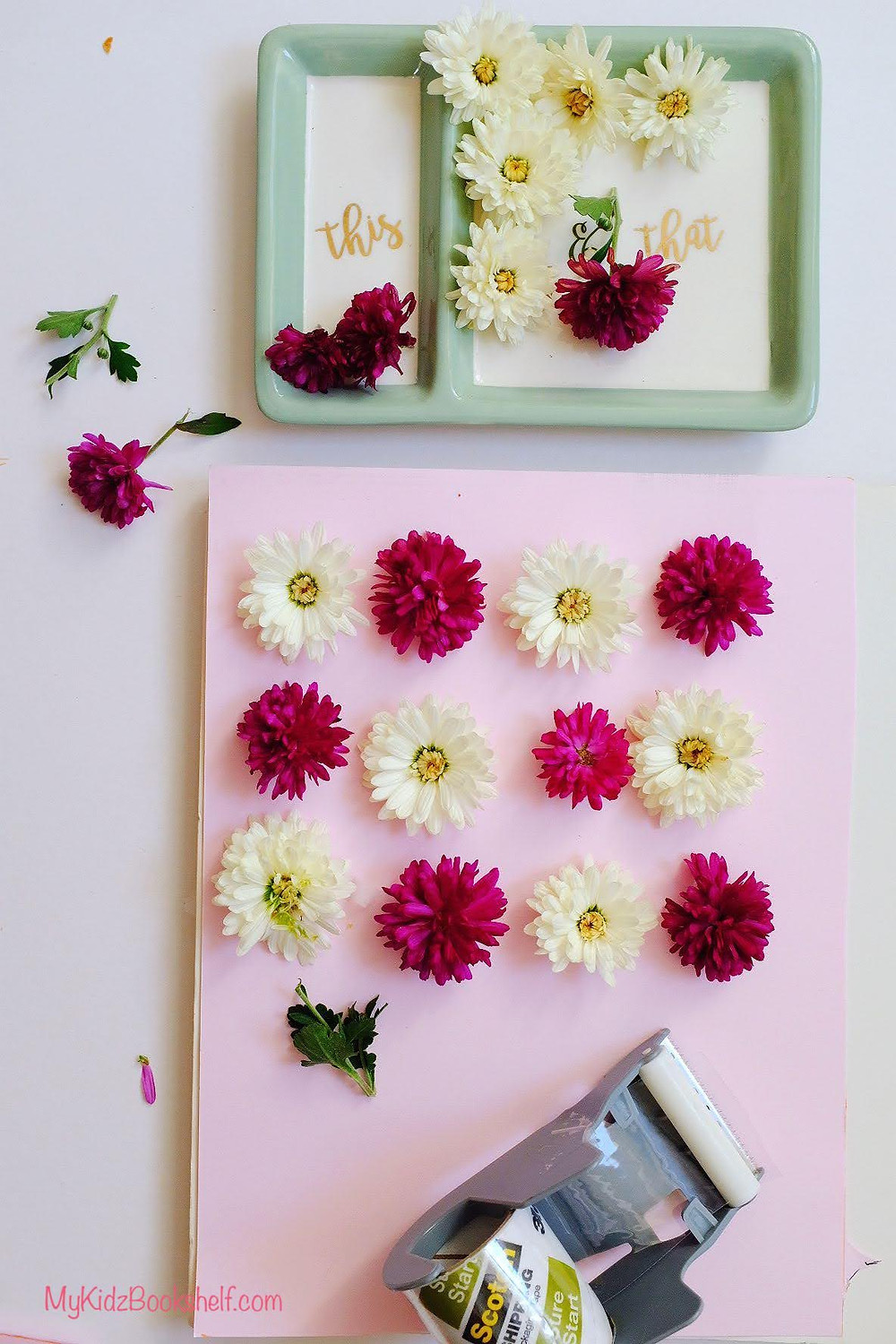 flowers- chrysanthemums attached to scrapbook paper