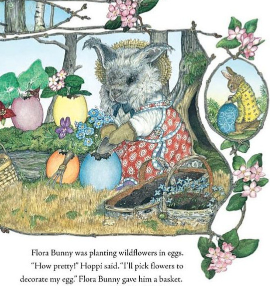 illustration from the book, The Easter Egg by Jan Brett shows a bunny wearing a bonnet and dress planting flowers in colorful Easter eggs.