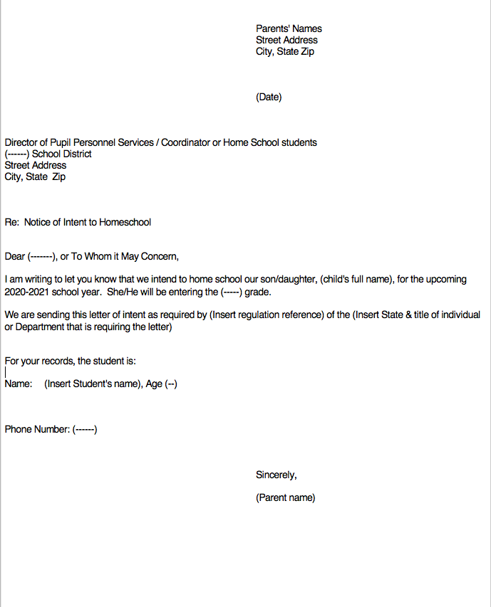 Letter of Intent to homeschool sample