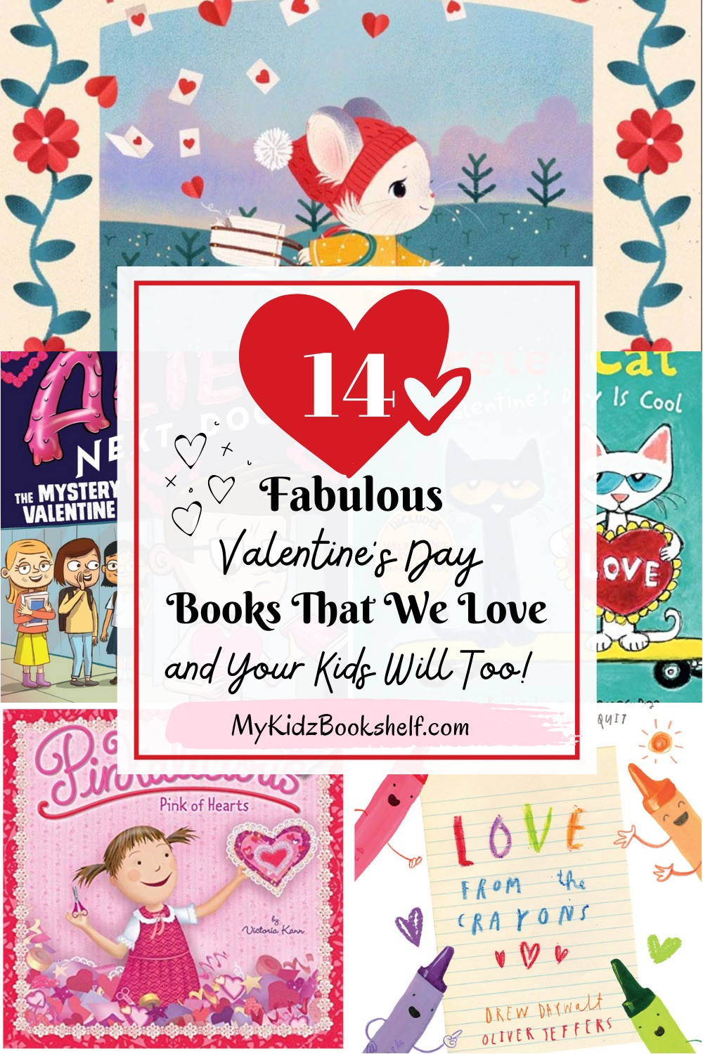 14 Valentine's Day Books pinterest pin with book covers
