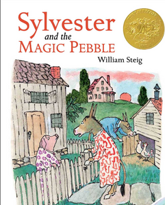 Sylvester and the Magic Pebble by William Steig shows farm animals talking outside their houses