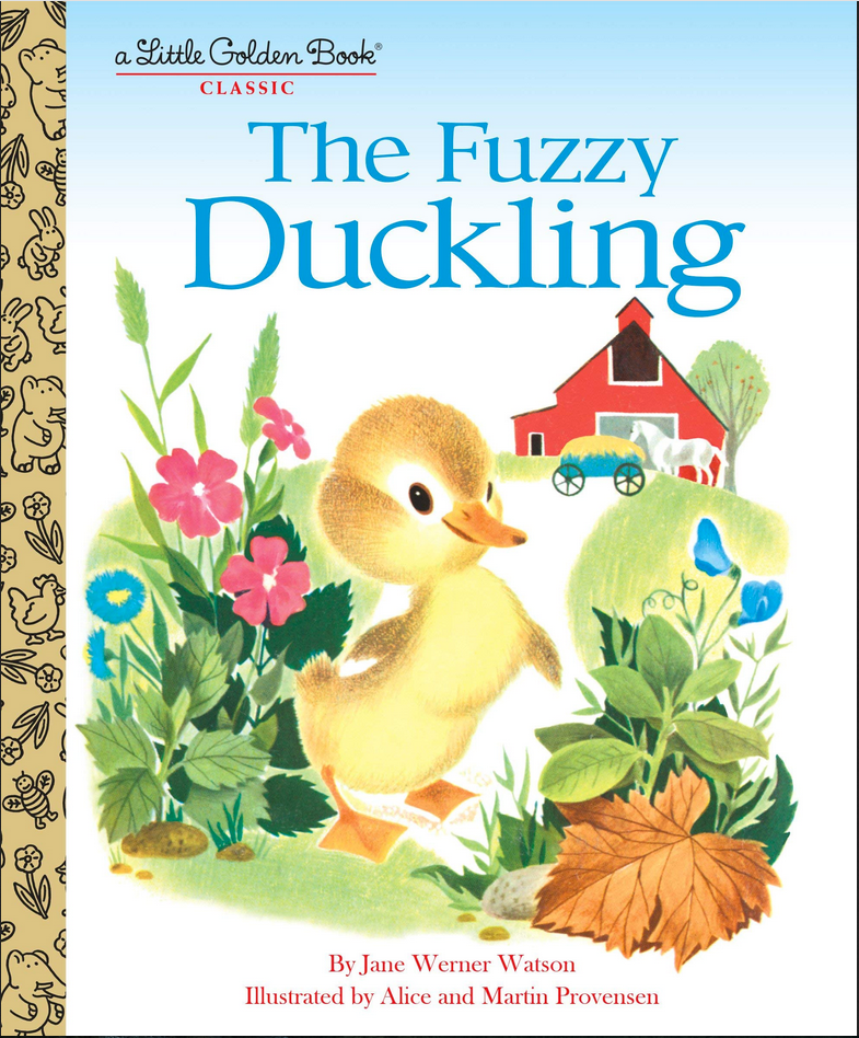 a Little Golden Book Classic The Fuzzy Duckling illustration of a fuzzy duckling on a country road with a barn in background and horse