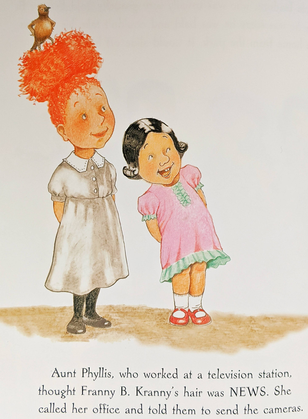 Franny B. Kranny There's A Bird in Your Hair illustration has Franny with bird in her bun with her sister standing next to her