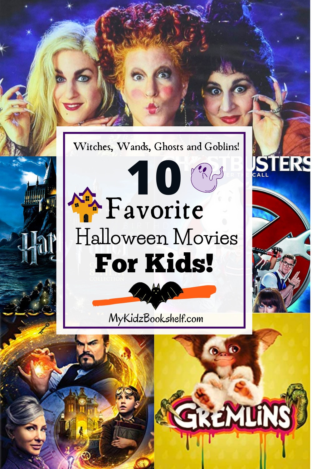 10 Favorite Halloween Movies for Kids movie posters Hocus Pocus, Harry Potter, ghostbusters