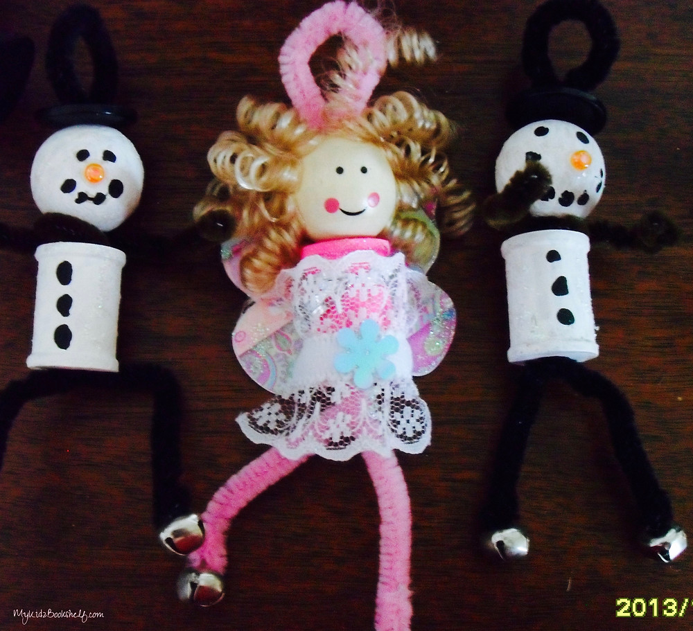 Spoolie-craft-snowmen-snowman-and-pink-fairy-ornaments