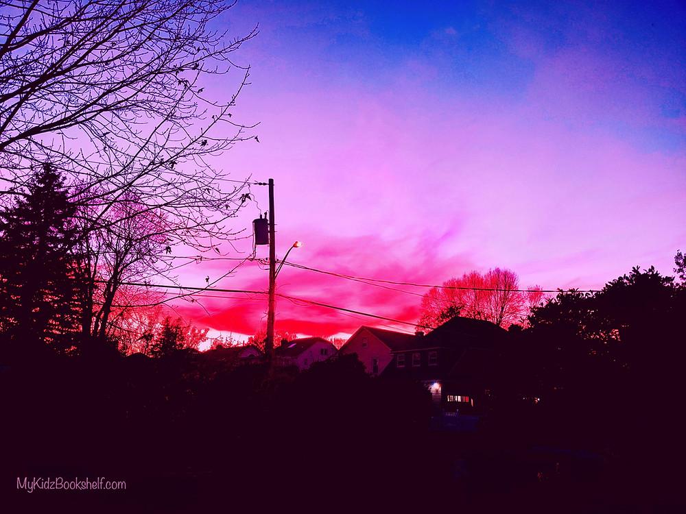 sunset in residential city neighborhood