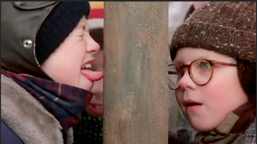 A Christmas Story movie scene when kid gets tongue stuck to pole