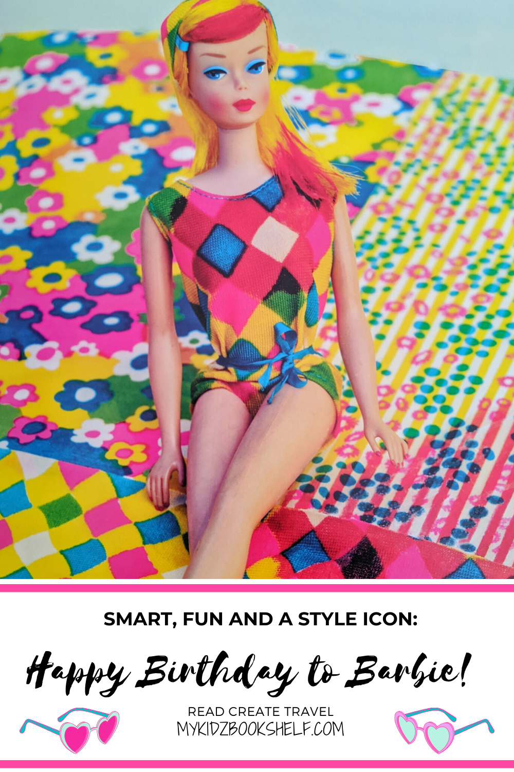 Pinterest pin Happy Birthday to Barbie shows Barbie on colorful papers
