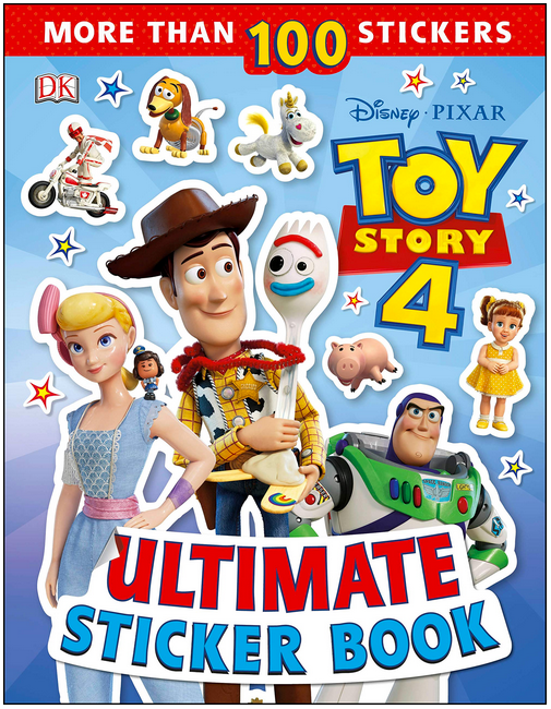 Ultimate Sticker Book for Disney Toy Story 4 cover with Bo Peep, Woody, Sporkie, Buzz and other characters on cover