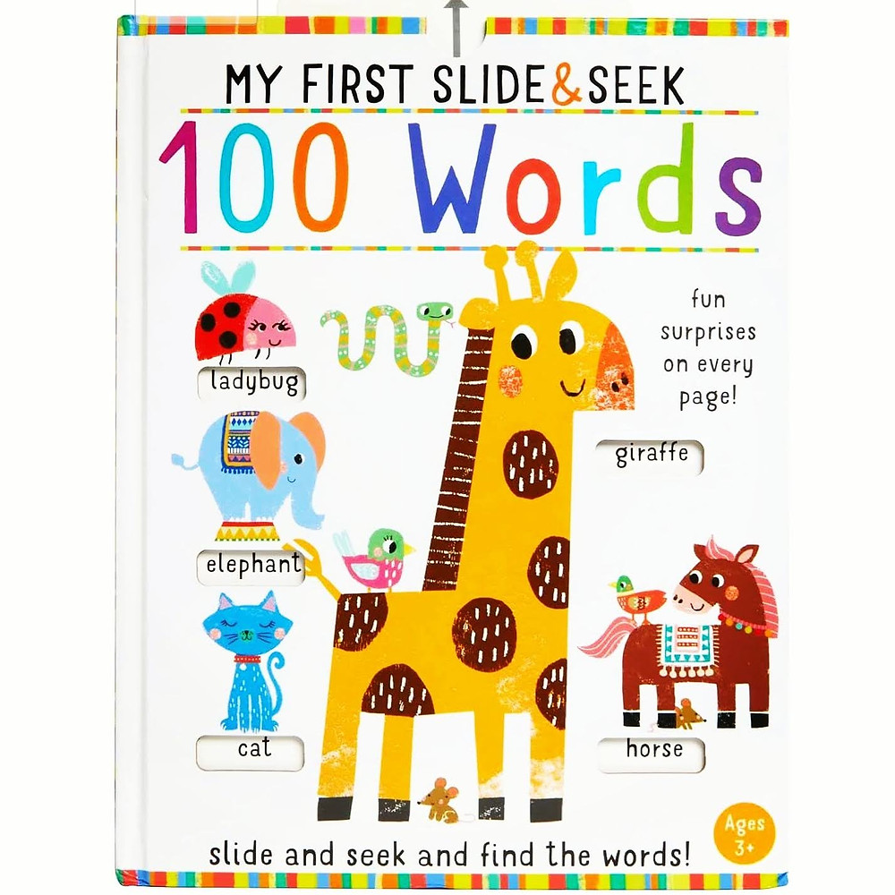 My First Slide & Seek 100 Words bookcover with giraffe and
