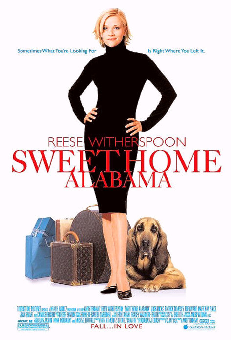 Movie poster of Sweet Home Alabama with Reese Winterspoon standing in black dress