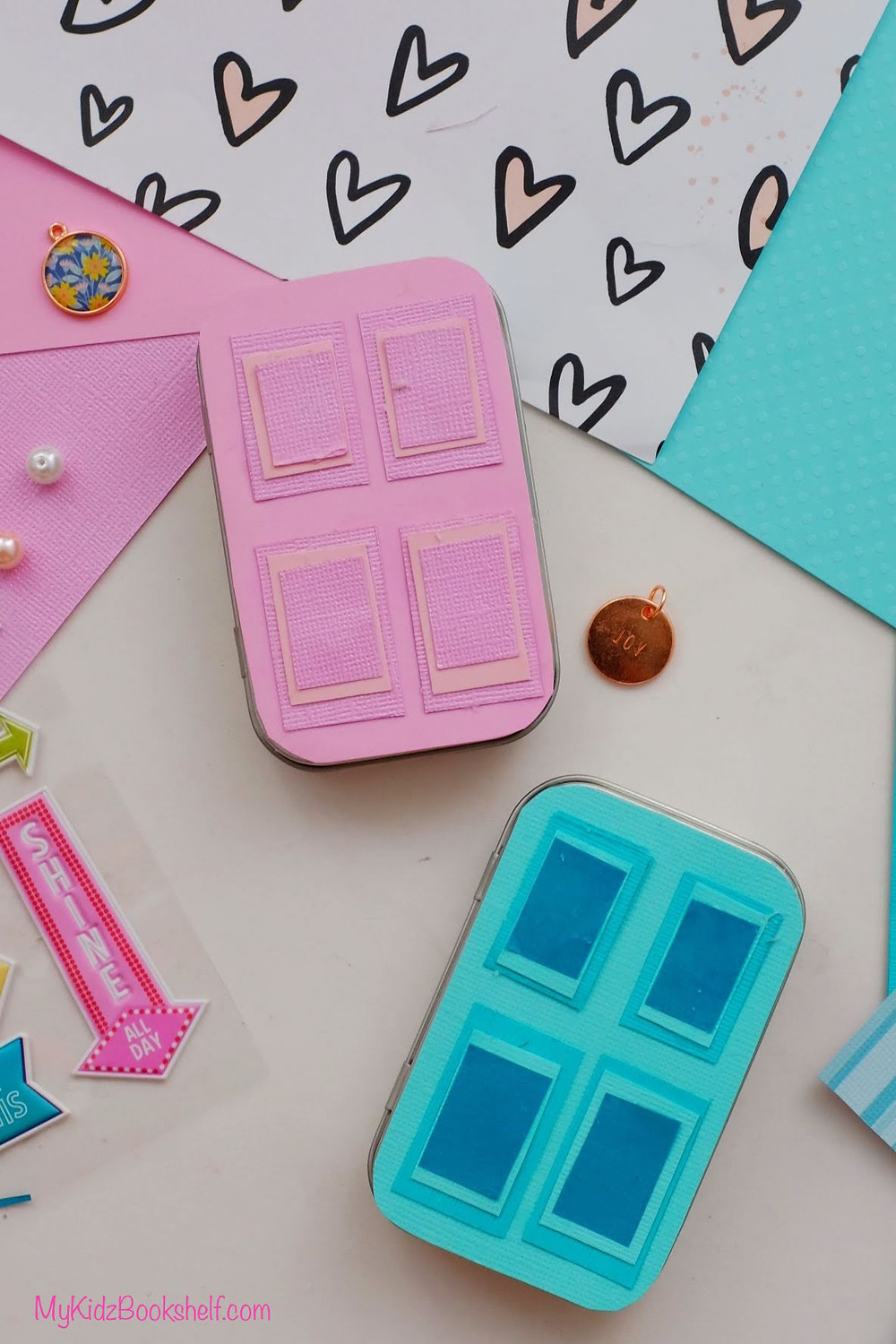 DIY - Make Your Own A-Door-Able Altoid Tin Craft for Kids of All Ages! with scrapbook paper, beads, stickers