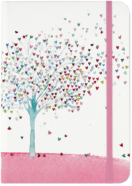 Journal with tree on cover with hearts as leaves