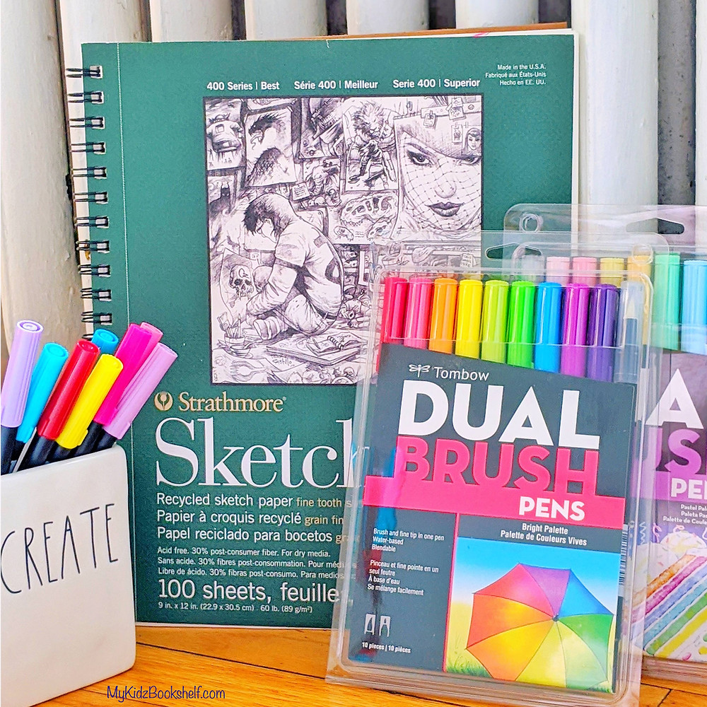 Sketch book and Dual brush pens by Tom Bow
