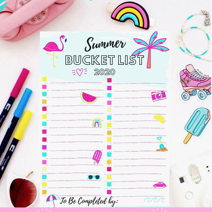 Summer Bucket List 2020 fill in free printable with pink flamingo