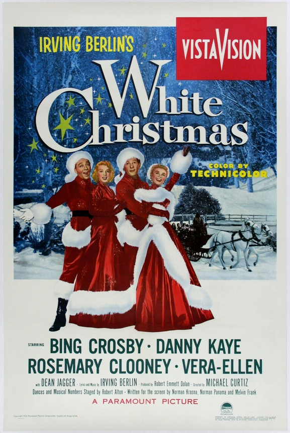 White Christmas movie poster with Bing Crosby, Rosemary Clooney, Danny Kaye and Vera Allen Christmas movie