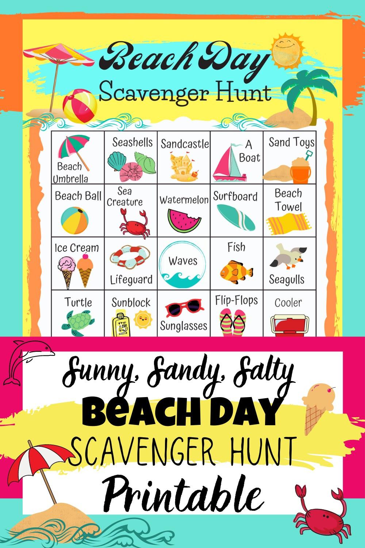 Beach Day Scavenger Hunt Sunny Sandy Salty Beach Day Printable
