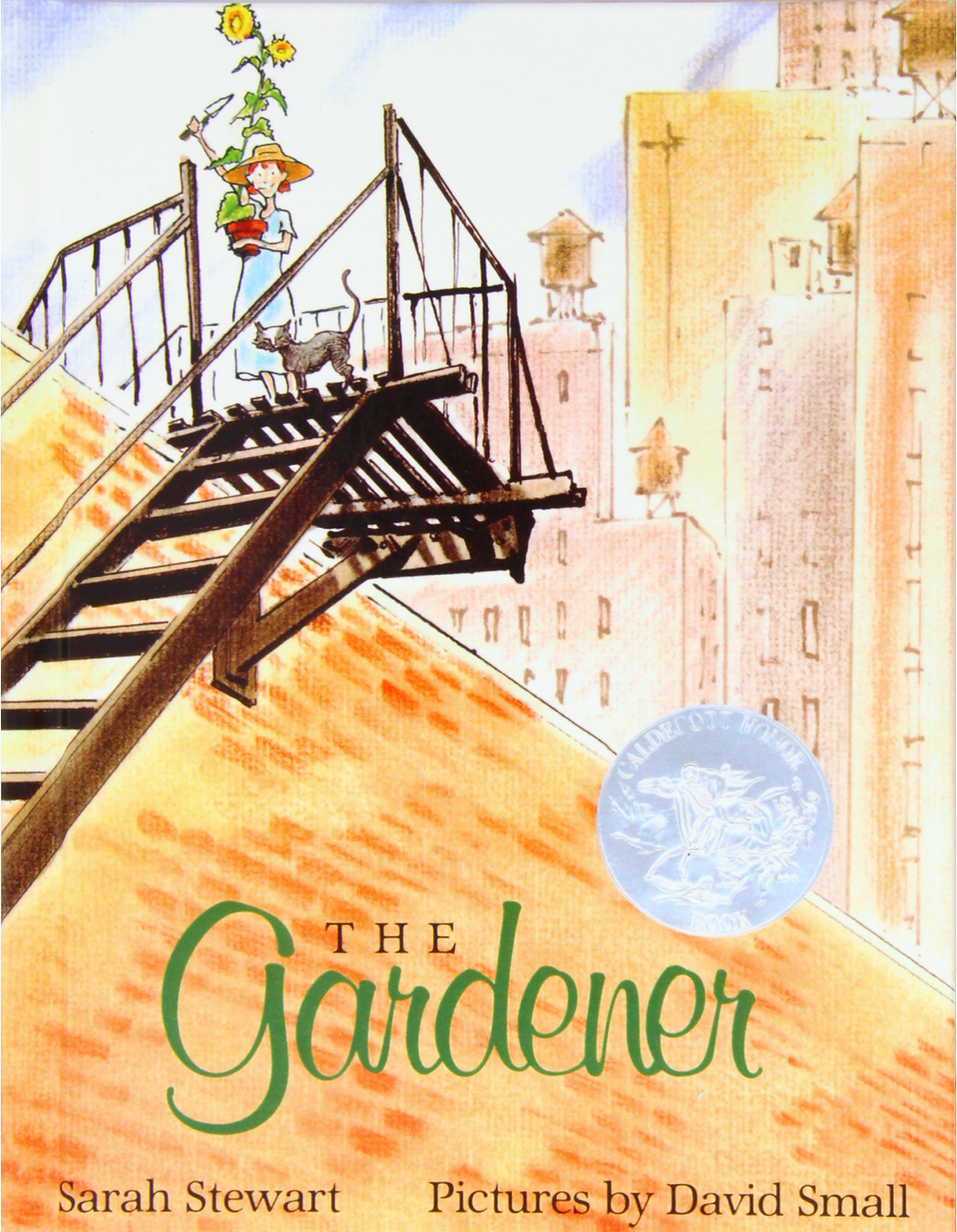 The Gardener picture book by Sarah Stewart Pictures by David Small shows woman holding plant standing on a fire escape in the city with a cat next to her