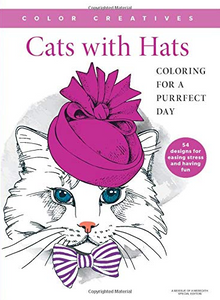 Cats with Hats coloring book for older kids and adults