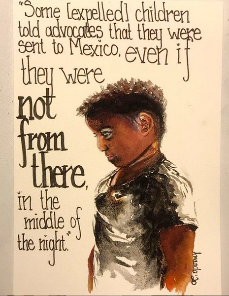art from Project Amplify instagram drawing of boy looking down