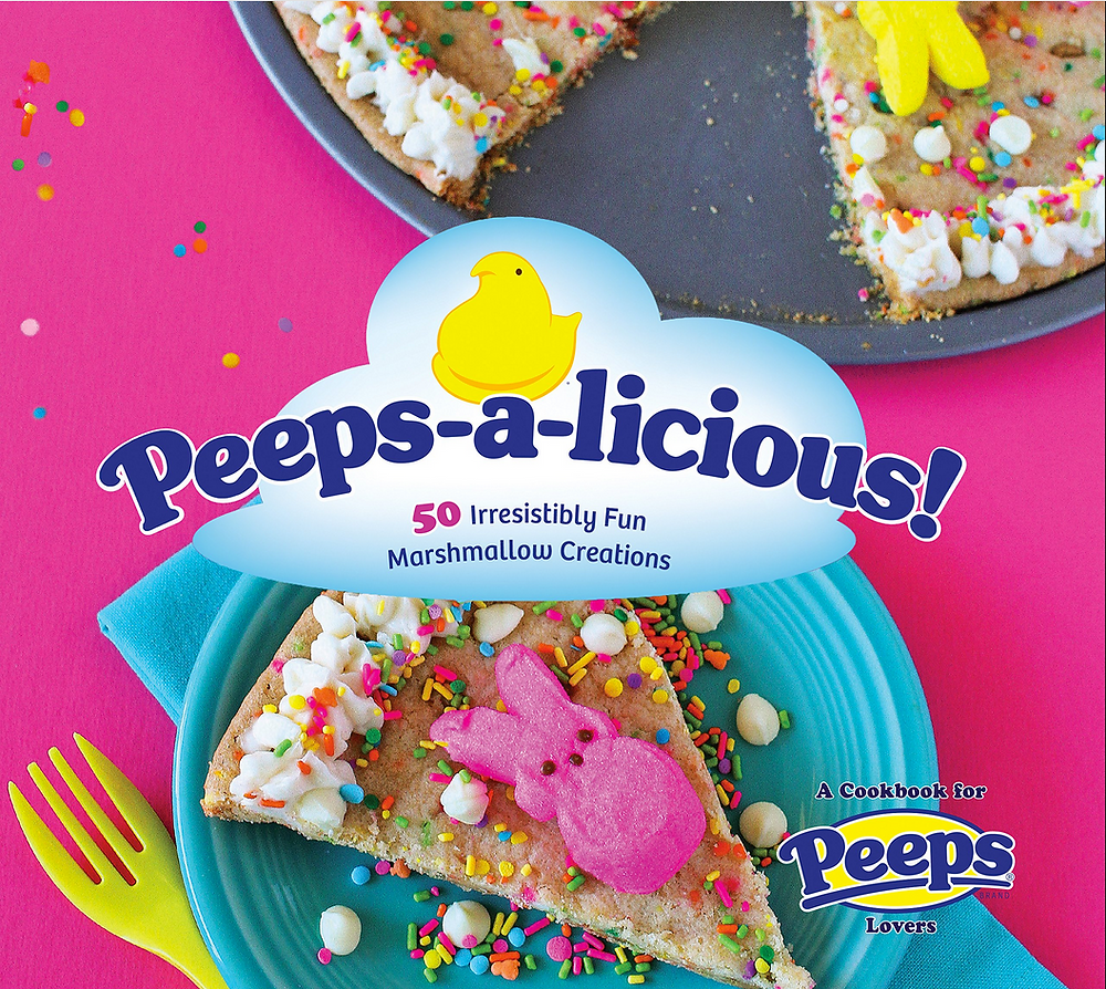 Peeps-a-licious Cookbook 50 Irresistably Fun Marshmallow Creations has a picture of a pink bunny peep on top of a cookie pie slice