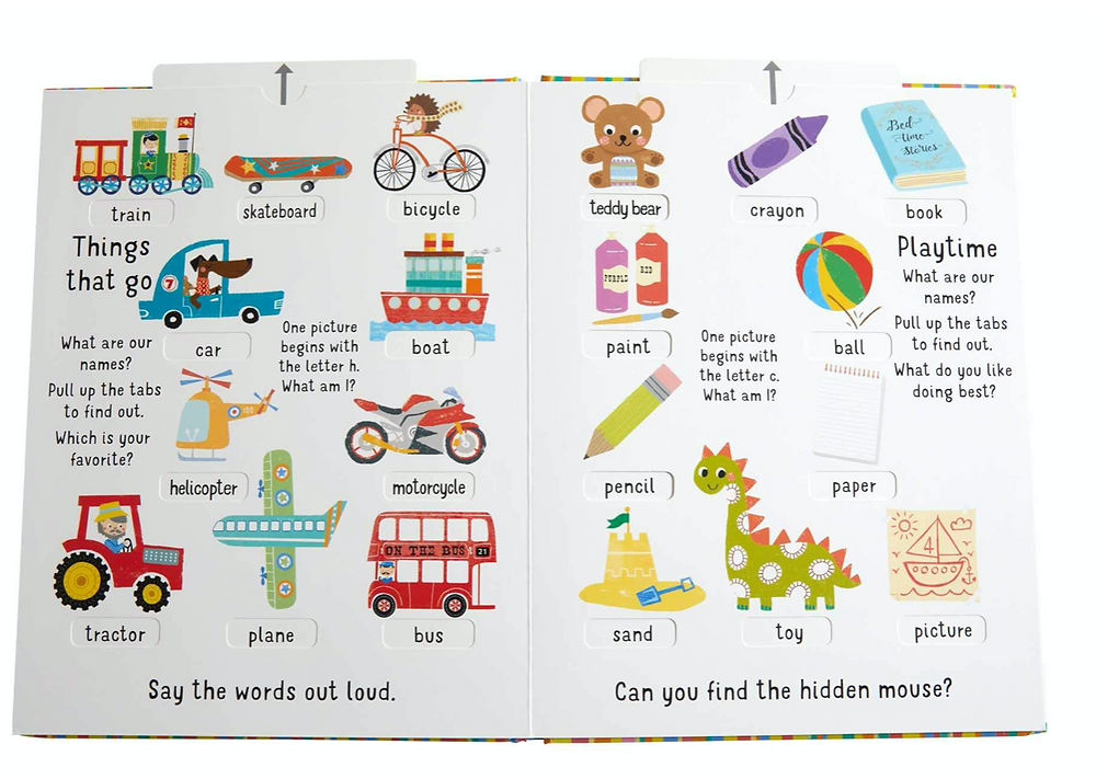 My First Slide & Seek 100 Words book page pull tab transportation and fun toys