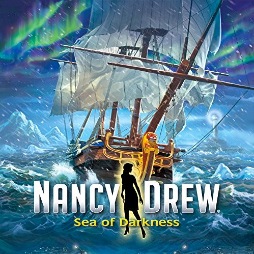 Nancy Drew Sea of Darkness video game cover shows a tall ship on the rough seas during a storm with Northern Lights