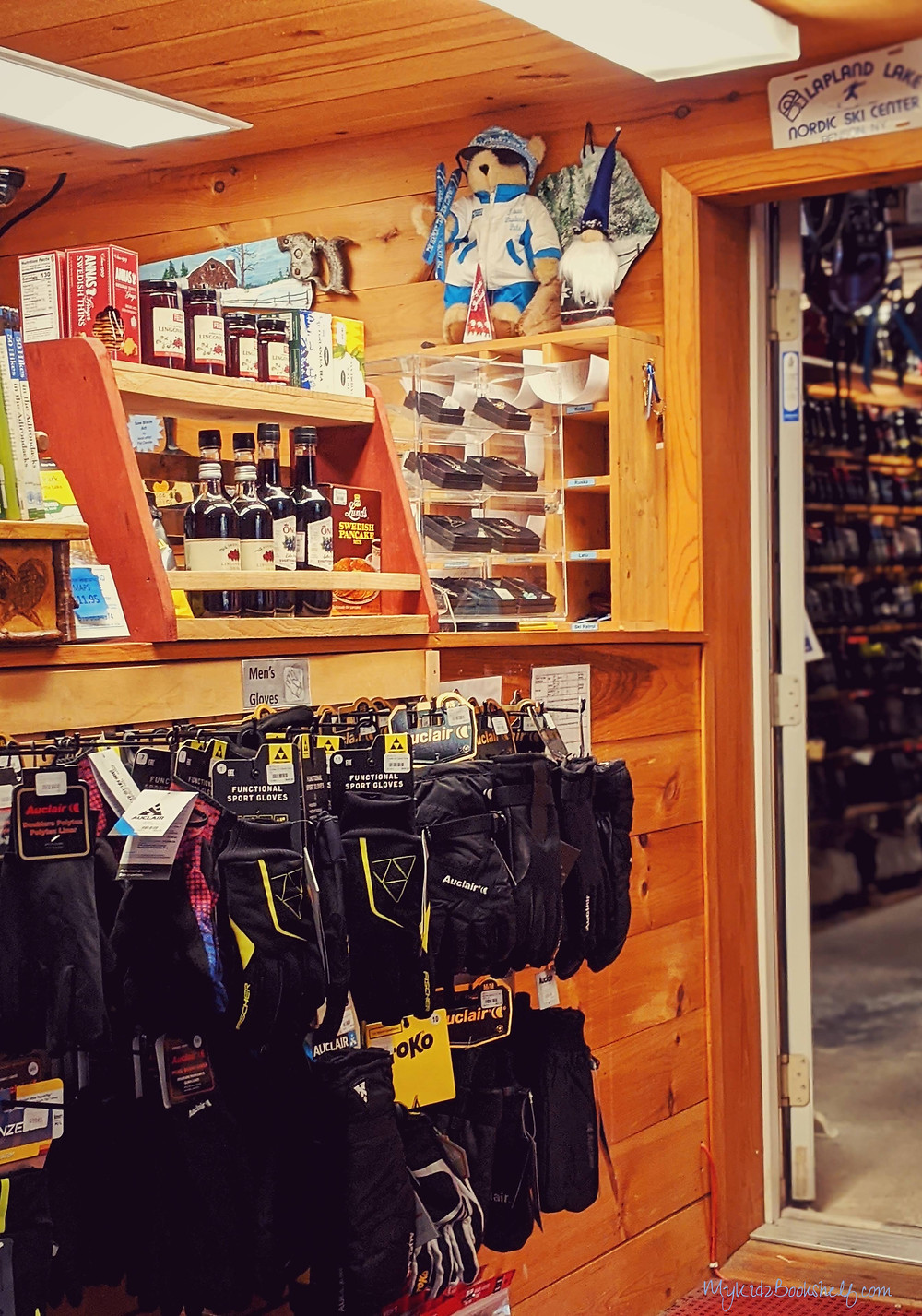 inside ski lodge shop with gloves maple syrup, honey and more