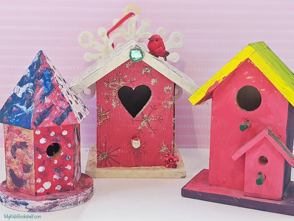 painted wooded craft bird houses