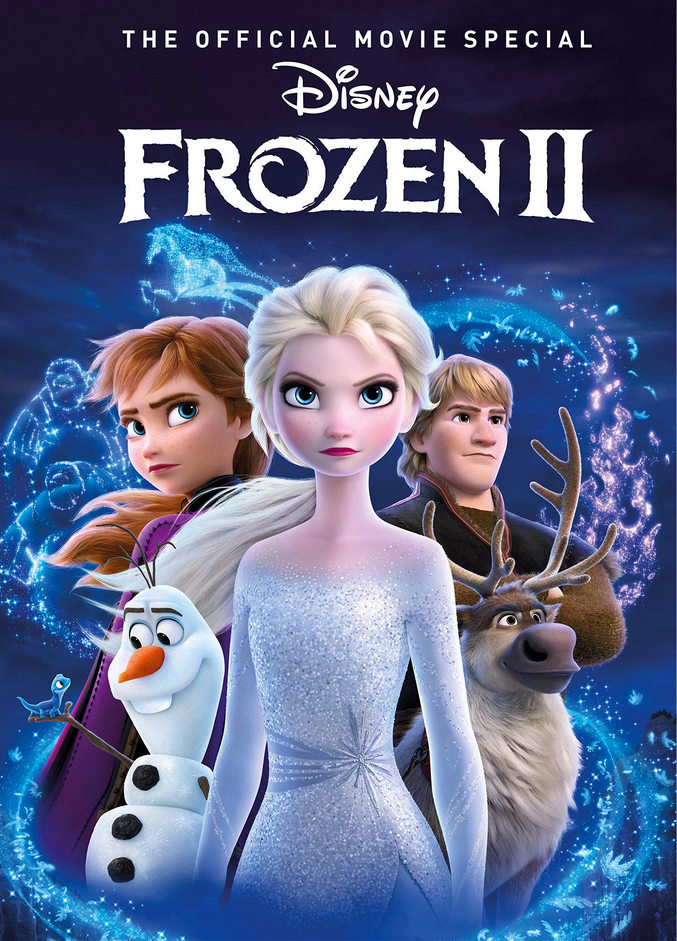Cover-of-a-dvd-that-shows-Elsa-Anna-Olaf-the-snowman-Kristoff-and-Sven-with-magical-snow-swirling-around-them