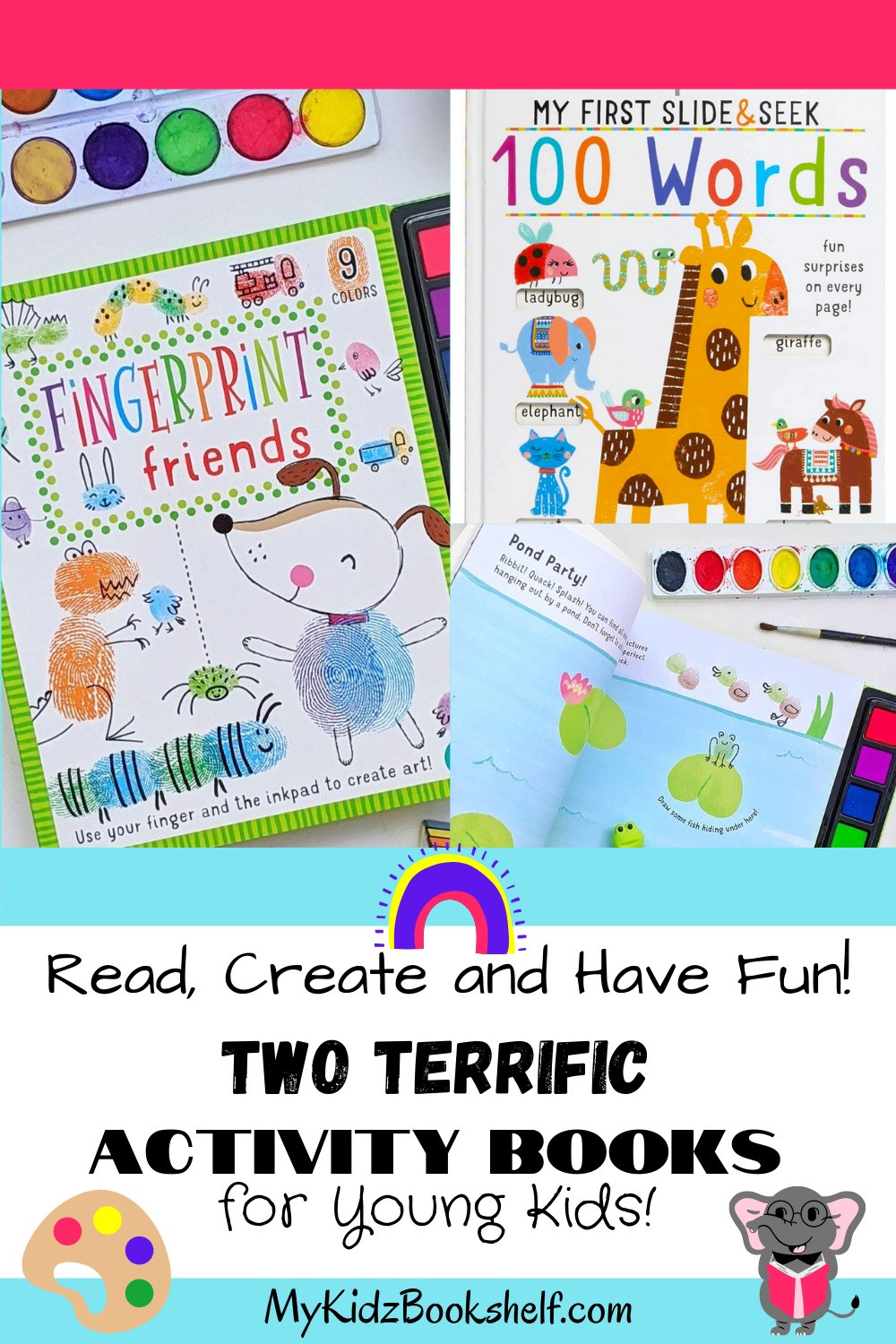 Two Terrific Activity Books for Young Kids Pinterest pin with book covers