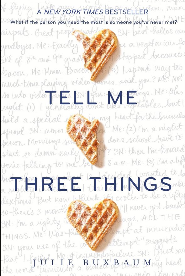 Tell Me Three Things book cover by Julie Buxbaum with waffles in shape of hearts