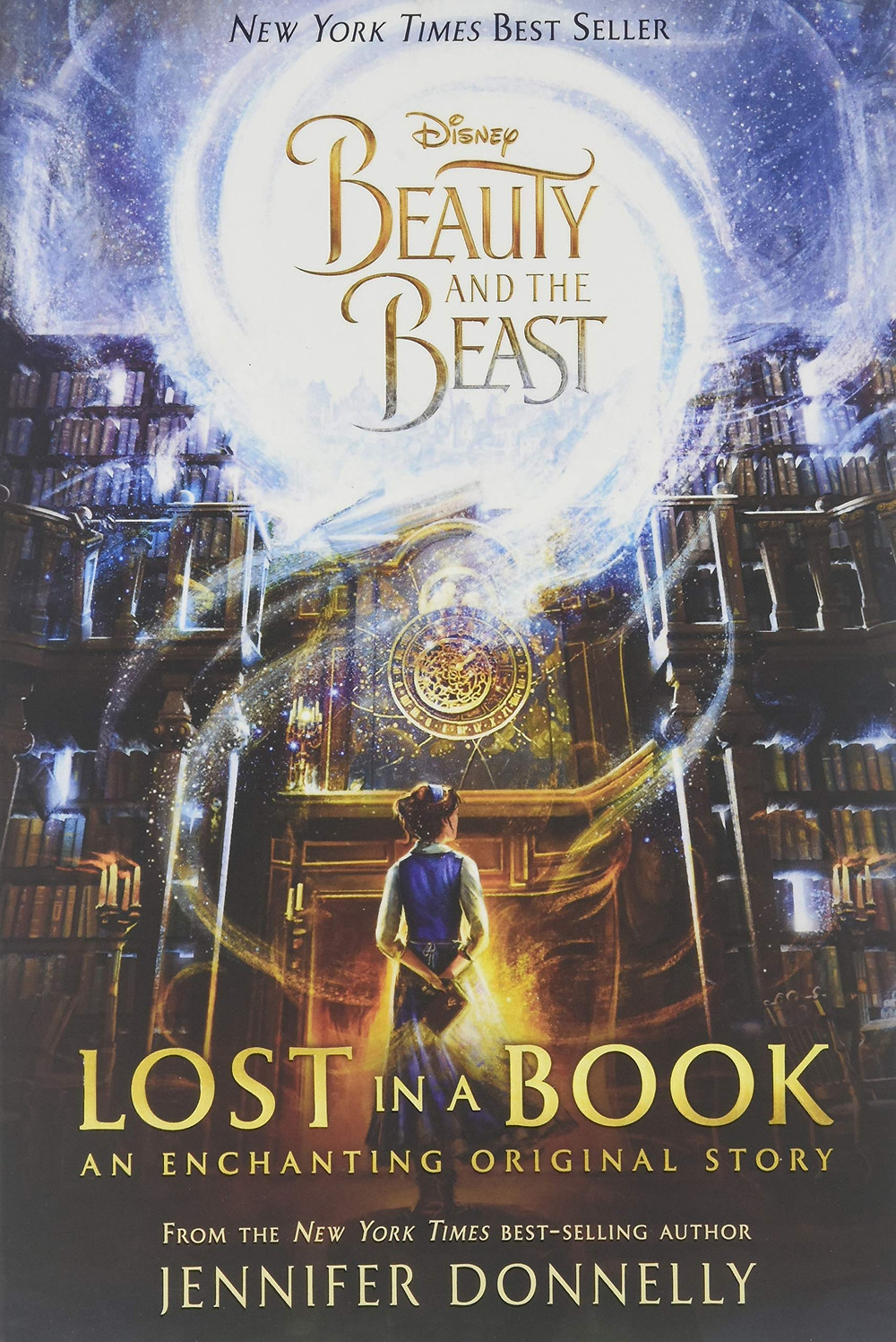 Disney Beauty and the Beast Lost in a Book cover by Jennifer Donnelly shows Belle looking at a bookshelf