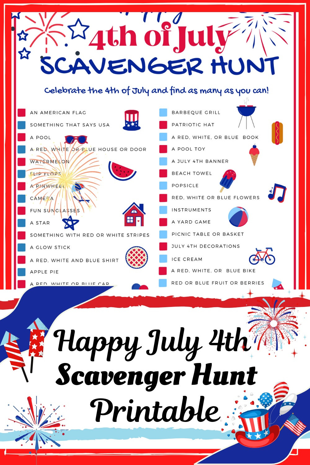 July 4th Scavenger Hunt printable etsy product fun for kids activity printable holiday family