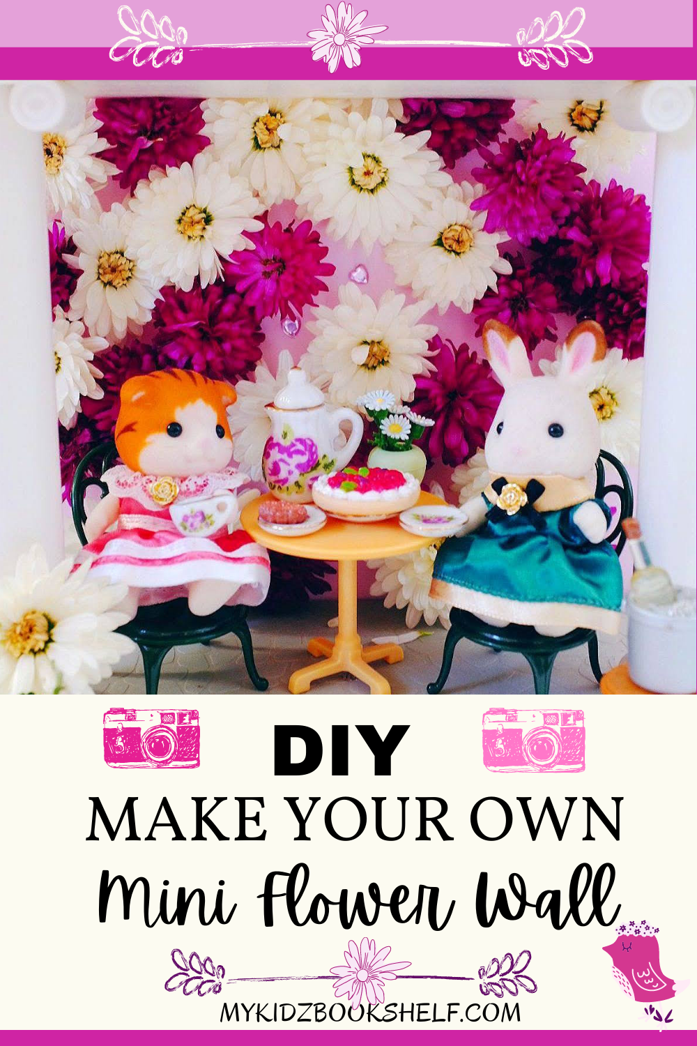 Pinterest Pin DIY Make Your Own Mini Flower Wall with Calico Critters and Sylvanian Families cat and bunny