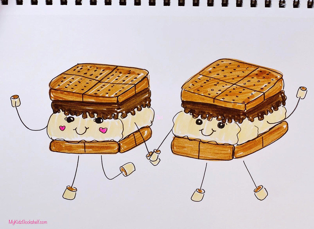 How to Draw S'more Friends tutorial with cute character drawings