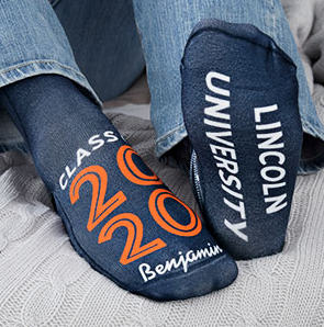 Gifts for Grads personalized socks with 2020 Lincoln University on soles