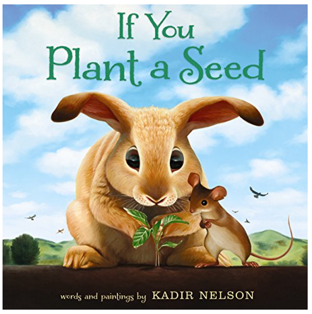 Picture book cover If You Plant a Seed by Kadir Nelson shows a rabbit and mouse looking at a seedling with sky behind