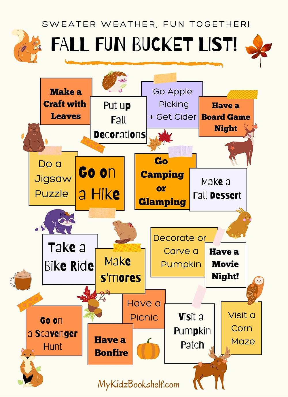 Fall Fun Bucket List in a message board style with ideas for fall fun!
