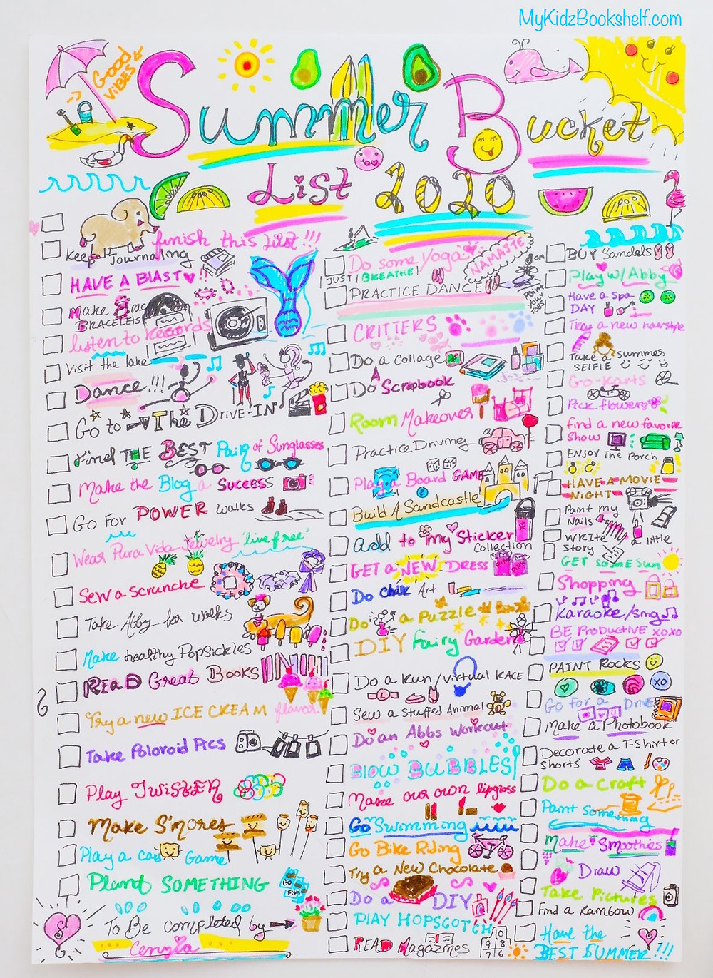 Summer Bucket List DIY ideas illustrations printable idea