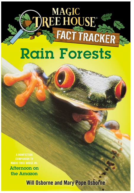 Magic Tree House Fact Tracker Rain Forest Book Cover with Tree Frog