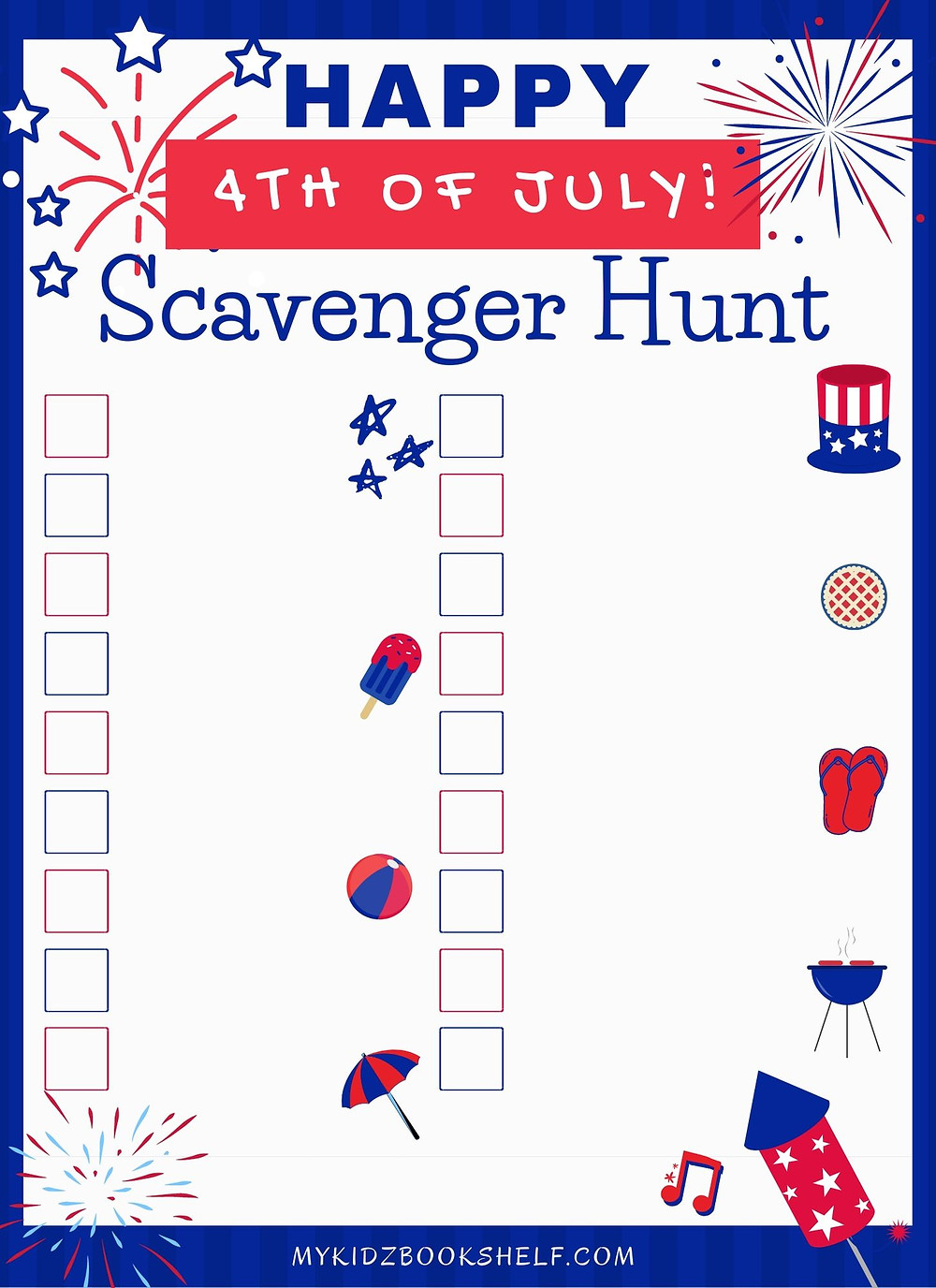 Happy 4th of July Scavenger Hunt Free Printable for kids fun summer