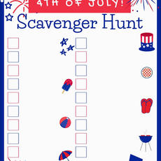 July 4th Scavenger Hunt Fill in Printable