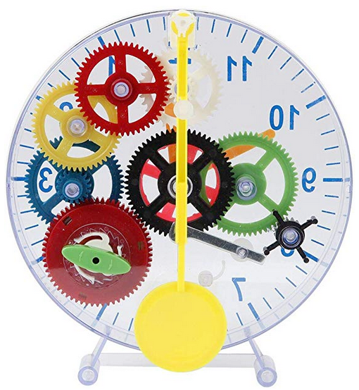 Gear clock kit shows colorful craft clock to put together