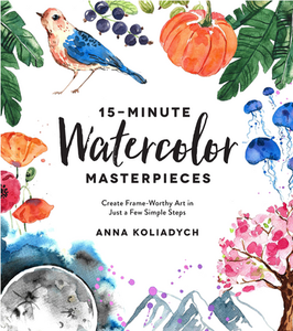 Watercolor-book-instruction-with-bird-and-flowers-fruits-and-vegetables-on-the-cover