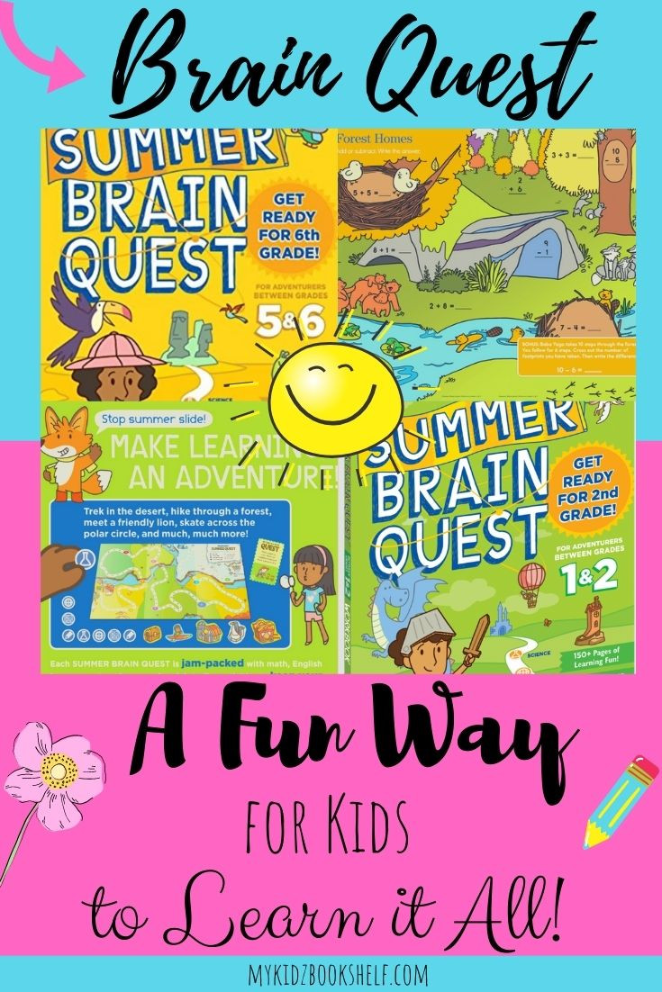 Brain Quest Pinterest pin with sun, workbooks and flower