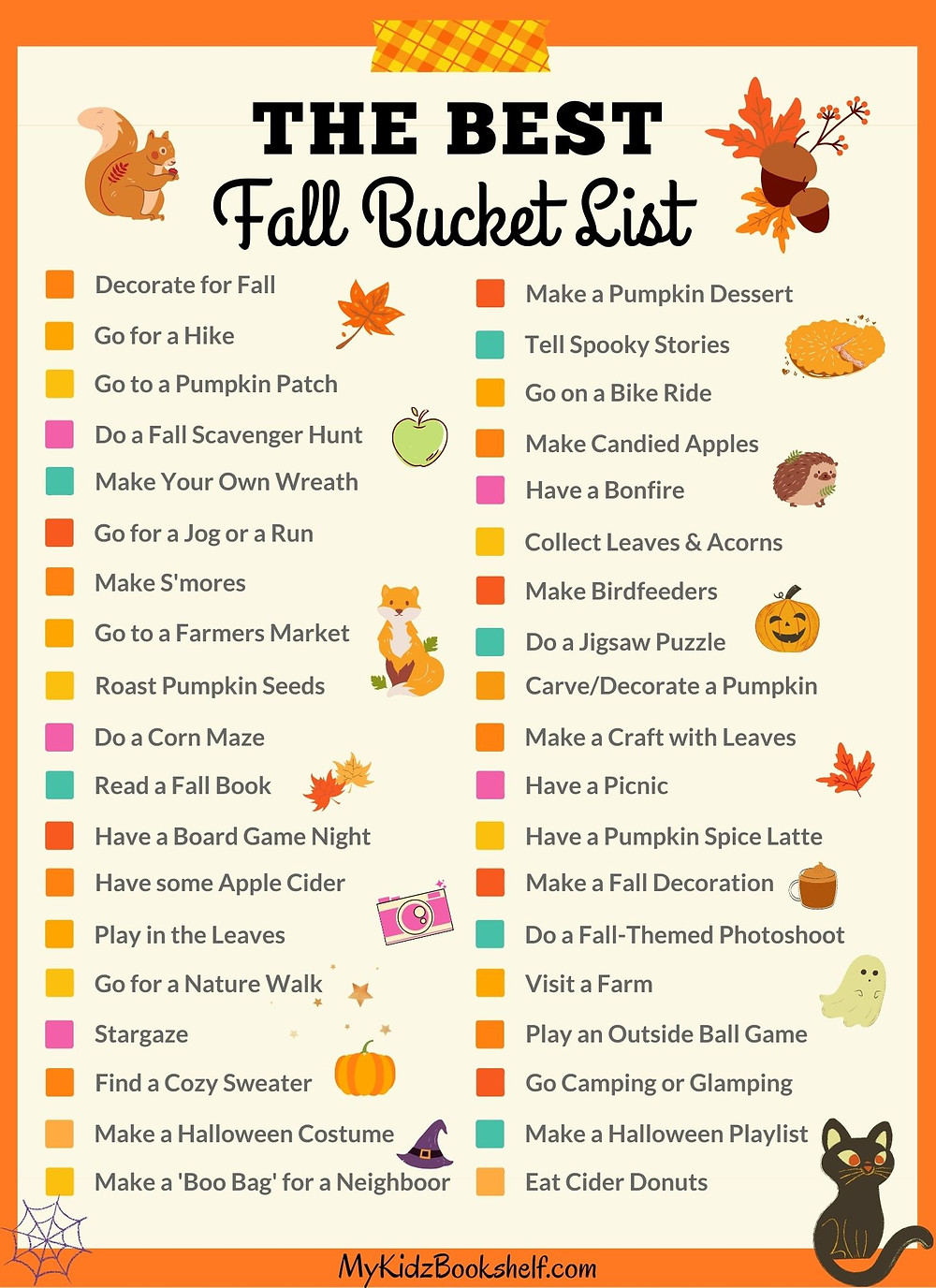 The Best Fall Bucket List printable with ideas for fall fun check mark off the fun things to do!
