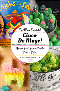pinterest pin for Cinco de Mayo that has bookcover, painted cactus rocks, pinata and guacamole!