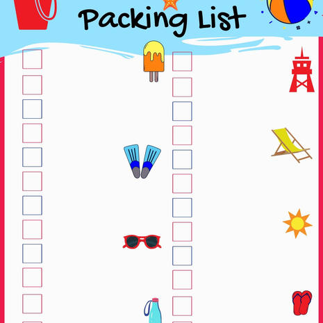 Beach Day Packing List Fill in Printable